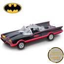 "Batmobile from the 1966 Series. With  lights and realistic sounds in ""try me"" packaging.  Length 13cm. Age 3+"