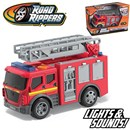 Sturdy Red Fire Engine with expanding and rotating  ladder. Also includes light and sound. Part of the  Rush & Rescue series. 12.5cm Length. Age 3+.  Includes 3 x LR44 Batteries