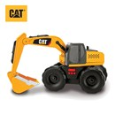 Freewheeling Cat excavator with rumbling action  that captures the authentic feel of a machine in  motion.  Lift the scoop to trigger realistic  sounds.  Push button for lights, sound effects and  music.  Includes 2 x AA batteries.  Age 3+.