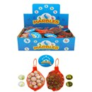 Net bag contains 20 assorted marbles and a large shooter marble. Display box of 24.  Age 3+.