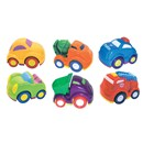 10cm chunky, lightweight cartoon-style vehicles  with freewheeling action.  Safe and durable.  6  Assorted.  Age 18m+.