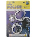 Die cast metal handcuffs and hook-on police badge.  The safe way to detain those criminals - no key  required!  Age 3+.