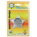 6.5cm Lone Star metal sheriff's badge with safety  pin fastening.  Age 3+.