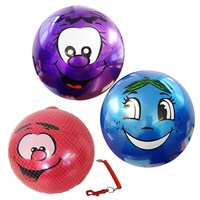 28cm Smiley face ball with keychain.  Assorted  styles.  Age 3+.