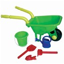 70cm plastic wheelbarrow with moving wheel and  easy assembly handles.  Comes with bucket,  watering can, rake, shovel and sand mould.  2  Assorted colours.