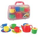 Plastic tea set consists of 4 cups, saucers and  teaspoons, a teapot, creamer and sugar bowl with  lid.  All presented in 19cm x 24cm plastic carry  case.  Age 3+.