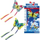 Brookite Mini Butterfly Kite made from polyester riptstop with fibreglass struts. Single line with 1 handle. For use in a light-moderate breeze (Bf 2-4). Dimensions (H) 49cm x  (W) 88cm. Recommended Age 3+