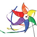 Multicoloured windwheel with tails to create a  spiral in the wind.  Complete with line and  swivel, attaches easily to windsock pole eyelet.  76cm diameter, 120cm tails. Age 3+