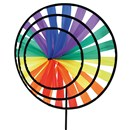 3 Rainbow coloured wheels measuring 21, 28 and  38cm diameter that rotate in the lightest of  breezes.  Place in the ground using the stake  provided, or fix to a wall or fence. Age 3+