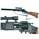 "Plastic rifle with scope, wood effect handle and  carrystrap.  For use with 8 shot ring caps.  Length 25"" (63cm). Age 3+."