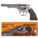 20.5cm Die cast metal cowboy style gun with  western detailing and wood effect plastic butt.  use with 8 shot caps.  Boxed.  Age 3+.