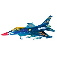 19cm diecast jet with pull back and go action  wheels and air force detail.  Age 3+.