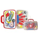 19cm x 24cm plastic carry case containing a  variety of medical instruments including  stethoscope and syringe.  Age 3+.