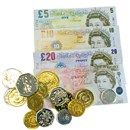 Realistic sterling play money coins and notes in  £5, 10, 20 and 50 denominations.  Age 3+.