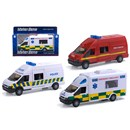 1:48 Scale emergency rapid response vehicle with  siren sounds, opening door and free wheel action.  Boxed with 'Try Me' function.  Diecast metal and  plastic parts.  Length 15.5 cm.  3 Assorted -  ambulance, police and fire rescue.  Age 3+.