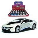 "5"" Diecast metal licenced BMW with  opening doors and pull back and go action.  Assorted colours in display box of 12.  Age 3+."