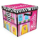 "Barbie dream house storage box with space for 40  dolls, unzips into a catwalk and stage design  playmat.  Mat size 36"" x 36"".  Age 3+."