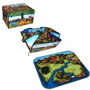 "Dinosaur design storage cube suitable for holding  up to 160 dinosaurs.  Unzips into prehistoric  landscape playmat and includes 2 x 3"" dinosaurs.  Cube size 13.5""x 12""x 8"".  Age 3+."