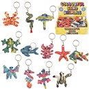 Assorted Sand Animal Keyrings. Bright & Vibrant  Colours with foil dots. Age 3+