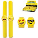Bright Yellow Slapband with Emoji Style Faces in  Display Box. Full Assortment. Age 3+