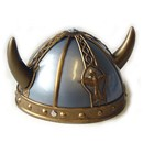 Metallic plastic helmet with gold detail and  horns.  Age 3+.