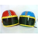 Hard plastic racing style helmet with adjustable  plastic under-chin strap and moving visor.  Assorted colours.  Age 3+.