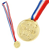 Gold coloured plastic winners medal with  tri-colour ribbon and clasp.  Bag of 72.  Age 3+.
