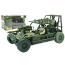 24cm military buggy with 2 fully articulated  figures (9.53cm) and weapons.  1:18 scale.  Age  3+.