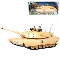 1:18 scale combat tank and 3 articulated military  figures, includes barricade and accessories.  Length 39cm (not incl. gun).