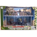 22cm x 44cm Battle Command Post includes briefing  room and look-out.  Comes with military vehicles,  fully articulated figures (9.53cm) and  accessories. 1:18 scale.  Age 3+.