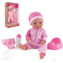 "38cm (15"") drink and wet doll with sleeping eyes,  deluxe outfit, hat, two piece bottle, potty and  fabric nappy.  Age 18m+."