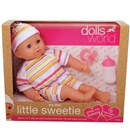 "30cm (12"") deluxe soft bodied baby doll with  sleeping eyes and outfit and 16 real baby sounds!  Set includes dummy and bottle. Age 12m+."