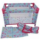 Large travel cot with quilt, pillow and travel  bag. 53(L) x 32(W) x 32(H(cm. Age 3+.