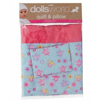 "High quality soft fabric quilt and  pillow set with exclusive design, suitable for  dolls up to 46cm (18"").  Age 3+."