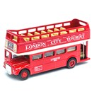 Open Top Traditional DieCast, pull back and go  London Bus. Length 12.5cm.