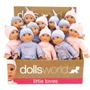 "25cm (10"") soft bodied doll with sleeping eyes and  outfit - 2 assorted.  Display box of 12. Age 10m+."
