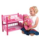 "Wooden bunk beds including quilt and pillow.  Suitable for dolls up to 46cm (18""). Age 3+."