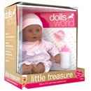 "38cm (15"") baby girl doll with bean  filled bum, deluxe romper, hat, bottle and dummy.  Age 18m+."