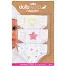 "Pack of 3 pretty fabric nappies with velcro  fastenings.  Fits dolls up to 46cm (18"").  Age  18m+."