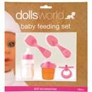 Dolls feeding set includes magic milk bottle and  juice beaker, fork, spoon and rattle.  Age 18m+.