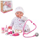 "46cm (18"") deluxe soft bodied doll with sleeping  eyes.  Includes dummy, doctor's name badge, eye  drop bottle, tablet bottle and doctor's  instruments.  Age 3+."