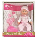 "38cm (15"") Baby Oliva is a drink & wet doll with  sleeping eyes. Accessories include a potty, nappy,  bottle and dummy. Length 38cm. Age 18m+"