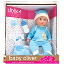 "38cm (15"") Baby Oliver is a drink & wet doll with  sleeping eyes. Accessories include a potty, nappy,  bottle and dummy. Length 38cm. Age 18m+"