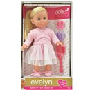 "30cm (12"") Evelyn Ballerina has beautiful long blonde hair. Dressed in a deluxe outfit with a Tutu. Evelyn is soft bodied with sleeping eyes.  Accessories include hairbrush and scrunchies. Age 18m+"