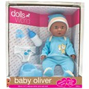 "38cm (15"") Baby Oliver is a drink & wet doll with sleeping eyes. Accessories include a potty, nappy,  bottle and dummy.Age 18m +"