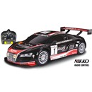 1:16 Scale full function Audi R8.  Tri-band - race  up to 3 cars together.  Speed 8.5km/h.  27MHz.  Requires 4xAA, 1x9V batteries (not included).