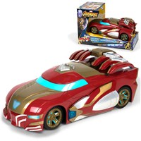 Light and Sound Vehicle with Iron Man Livery. 3 x AA Batteries (Included). Engine sounds and moving parts. Length 26cm. Age 3+
