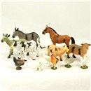 Pack of plastic farm animals contains 6 small  animals and 6 large animals.  In polybag with  header card.  Age 3+.