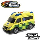 Sturdy Bright Ambulance. Also includes light and  sound. Part of the Rush & Rescue series. 12.5cm  Length. Age 3+. Includes 3 x LR44 Batteries