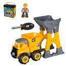 Playset made for basic two hand assembly. Includes  a vehicle, tool, figure and a construction site  machine.  Comes with storage case with handle for  travel.  Age 3+.